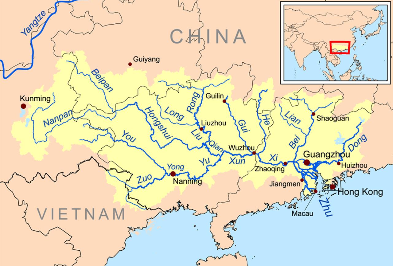 Karte China Hong Kong.Der Perlfluss In China